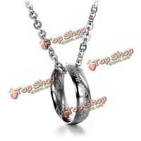 Кольцо на цепочке серебро титановая сталь