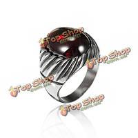 Марочные титана стали красный черный агат кольцо для мужчин