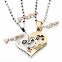 1 пара нержавеющей стали 316L я люблю тебя соответствуя сердца любовника ожерелья