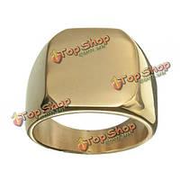 Золотой квадрат из полированной нержавеющей стали кольцо для мужчин