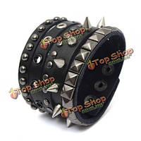 Панк-рок заклепки Спайк пу кожаный широкий браслет браслет для мужчин
