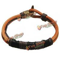 Тонкий кожаный браслет с плетением коричневой кожи