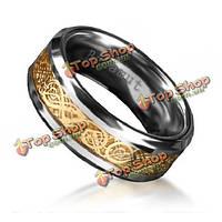 Бахамут мужчины стали вольфрама вырезать цветок широкие кольца перста