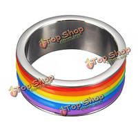 Унисекс титана стали кольцо из нержавеющей стали радуга кольцо 9 мм группа