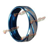 Голубой серебристый матовый раздел титана стали палец кольцо ювелирные изделия для мужчин