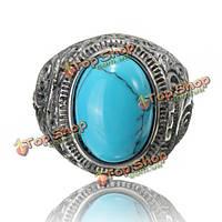 1шт старинные титана стали овальной бирюзовый кольцо для мужчин  женщин