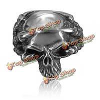 Панк Винтаж нержавеющей стали 316L серебряный череп палец кольцо ювелирные изделия для мужчин
