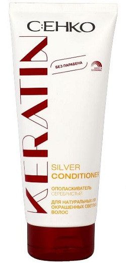C:EHKO Keratin - Ополаскиватель серебристый с кератином для натуральных или окрашенных светлых волос, 200 мл
