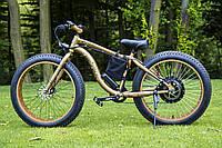 Электровелосипед LKS Fatbike Золотой с жёлтым (Фэтбайк) Electro Rear Drive