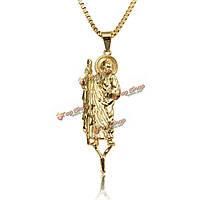 18k золотое ожерелье распятия иисус шарма цепи хип-хоп