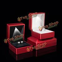 Красный Солид польский LED осветили коробку кольца ювелирные изделия свадебный подарок чехол