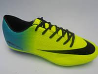 Брендовые мужские кроссовки для футбола копы пампы эко кожа бутсы Nike Mercurial недорого 7 км пал|2390