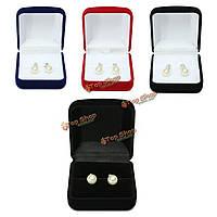 Бархатные серьги кольцо ювелирных изделий ожерелья ящик для хранения подарочная упаковка случай