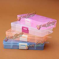 Прямоугольный бокс контейнер с 10 регулируемыми отсеками разных цветов