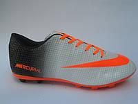 Брендовые мужские кроссовки для футбола копы пампы эко кожа бутсы Nike Mercurial недорого 7 км пал|2396