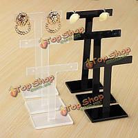 3шт т-образную форму серьги дисплей стенд пластиковый дисплей ювелирных изделий держатель