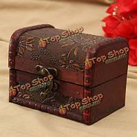 Ретро печатных деревянный ящик для хранения ювелирных изделий Винтаж контейнера случае