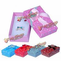Смешанный цвет ленты бантом сердца квадрат ювелирного дела упаковочной коробки