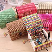 Мини Bamboo деревянный квадратный ручной работы ящик для хранения чехол коробка ювелирных изделий