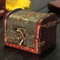 Ретро Винтаж золотой цветок деревянный ящик для хранения ювелирных изделий корпус