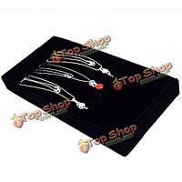 11 слотов для черного ожерелья организатор витрина дисплея крюка коробка ювелирных изделий
