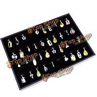 Витрина для ювелирных украшений черный бархат 56 слотов
