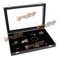 12 сеток ювелирные изделия лоток ящик для хранения ожерелья серьги браслеты витрина