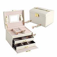 Искусственная кожа ожерелье серьги накопительное кольцо ювелирные Организатор Box Дело