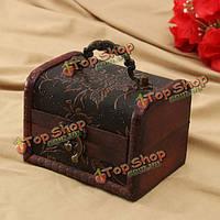 Ретро печатных деревянная коробка ювелирных изделий хранения держатель чехол с ручкой