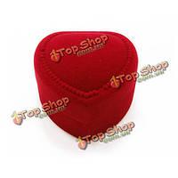 Красный любовь в форме сердца бархат случай кольца серьги подарочная коробка хранения ювелирных