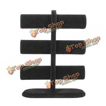 Черный бархат браслет смотреть стенд коробки случае 3 яруса для одежды