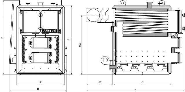 Габаритні розміри котла Альтеп КТ-3ENMEGA: