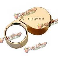 Золотой 10х-21mm ювелиры глаз лупа лупа увеличительное стекло