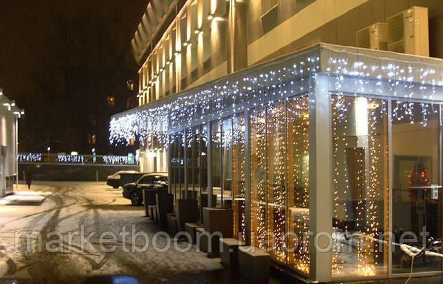 Гирлянда светодиодный дождь, новогоднее оформление фасадов