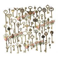 69шт смешанный старинных сердце сова корону ключ кулон ожерелье очарование поделки