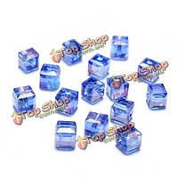 20шт 6мм многоцветной кристаллическое стекло граненых квадрат Cube свободные шарики поделок аксессуары