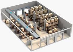 Вариант установки канального вентилятора смешанного типа Вентс ТТ и Вентс ТТ ПРО в промышленном помещении, складе