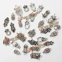 30шт смешанные старинные сова ожерелье тибетский серебро кулон Шарм DIY