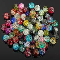 80шт 8мм кристалл треснуть стеклянные бусины бусины смешанный цвет