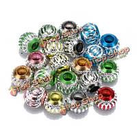 Смешанный цвет полые резные алюминиевые дистанционные шарики большое отверстие свободные шарики поделки