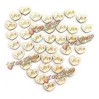 50шт Mini деревянные любовь сердца свадьба украшение скрапбукинга ремесла поделки