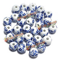 30шт 12мм цветок керамические шарики прокладки DIY свободные шарики