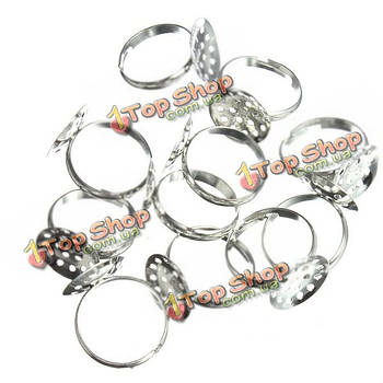 10шт 15мм DIY серебро кольца регулируемые колодки баз