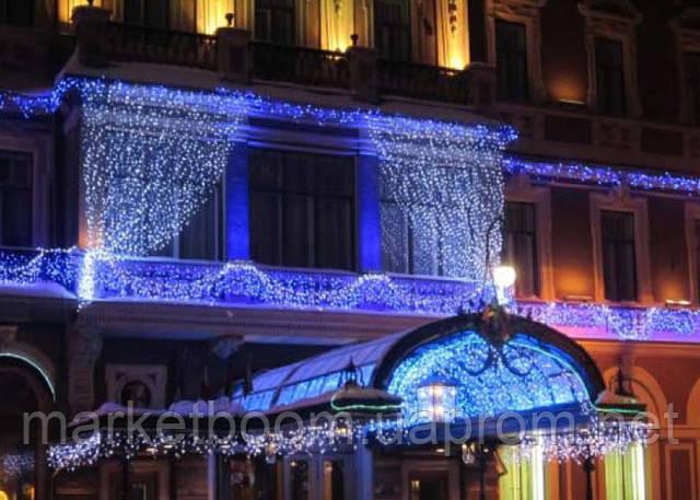Гирлянда световой занавес, новогоднее оформление фасадов
