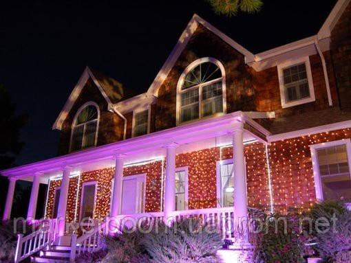 Новогоднее оформление домов, гирлянда штора
