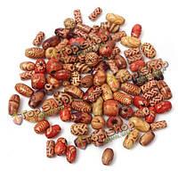 100шт смешанный цвет деревянные бусины круглой трубы рисовые шарики