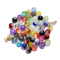 6мм 8мм 10мм смешанный цвет трещина стекла круглый разделительные свободные шарики