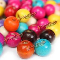 100шт смешанный цвет деревянные круглые бусины шарма поделок свободные шарики