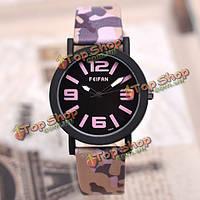 Feifan флот матовой камуфляж pu кожаный ремешок живут водонепроницаемые кварцевые аналоговые часы