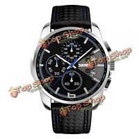 SKMEI 9106 Мода PU кожаный ремешок водонепроницаемый аналоговые мужские наручные часы